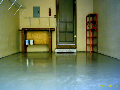 Finished garage with painted floor